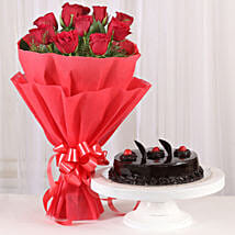 Red Roses with Cake: Karwa Chauth Flowers