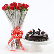 Red Roses With Truffle Cake: Flowers to Mathura