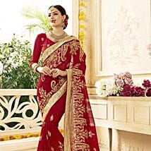 Red Saree with Heavy Floral Embroidery: Send Karwa Chauth Gifts to Agra