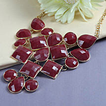 Red Stone Necklace: Send Rakhi to Karimnagar