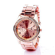 Rinestone Rose Gold Watch For Women: Gifts for Fiancee