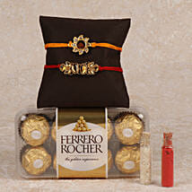 Rocher And 2 Rakhis Combo: Rakhi Gifts to Dhanbad