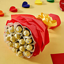 Rocher Choco Bouquet: Send Gold Rakhi