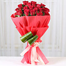 Romantic Red Roses Bouquet: Valentines Flowers Vapi
