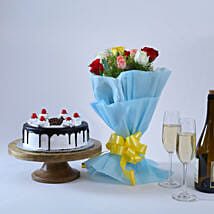 Roses and Black Forest Cake: Flowers & Cakes Kolkata