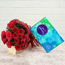 Roses and Celebration: Flowers & Chocolates for Husband