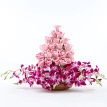 Roses And Orchids Basket Arrangement: Kiss Day Flowers