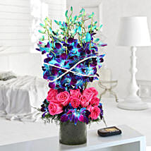 Roses And Orchids Vase Arrangement: Birthday Flowers Chennai