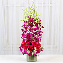 Roses And Orchids Vase Arrangement: Anniversary Flowers for Her