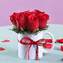 Roses Mug Arrangement: Send Flowers for Husband