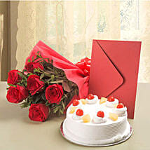 Roses N Cake Hamper: Valentines Day Flowers & Cards