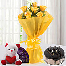 Roses N Choco Hamper: Flowers & Chocolates Faridabad