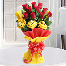 Roses N Chocolates Delight: Chocolate Bouquet Delhi
