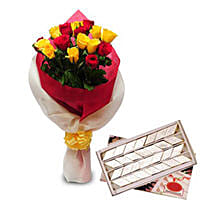 Roses N Kaju Katli EXDFNP104: Thank You Flowers & Sweets