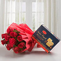 Roses with Sone Papri: Send Flowers & Sweets to Pune