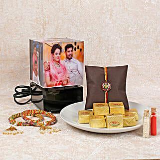 Rotating Lamp Rakhi Combo: Rakhi With Sweets Bhavnagar