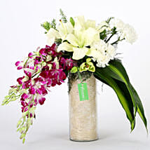 Orchids & Carnations Vase Arrangement: Valentine Flowers for Boyfriend