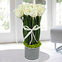 Serene White Rose Arrangement: Flowers for Sympathy & Funeral