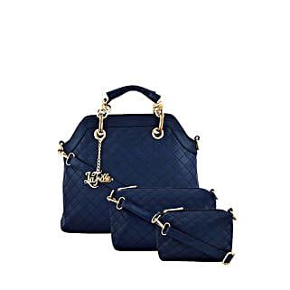 Set of 3 LaFille Blue Handbags: Handbag Gifts