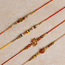 Set of 4 Designer Rakhis: Rakhi to Bundi
