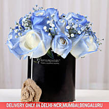 Shaded Love- Blue Roses Arrangement: Diwali Gifts Faridabad