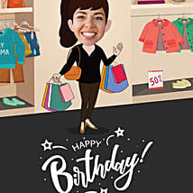 Shopaholic Caricature Digital Poster: Birthday All Gifts