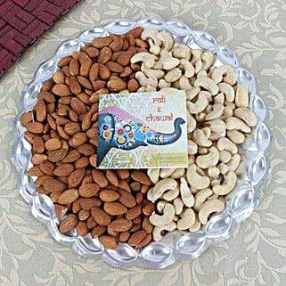 Silver Thali Of Dry Fruits: Bhai Dooj Gifts Mangalore