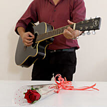 Single Red Rose Musical Combo: Flowers & Guitarist Service