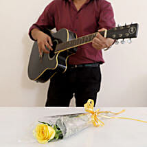 Single Yellow Rose Musical Combo: Gifts N Guitarist Service