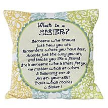 Sister Message Cushion: Home Decor to Lucknow