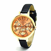 Sleek rose gold Black Watch For Women: Gifts for Girlfriend