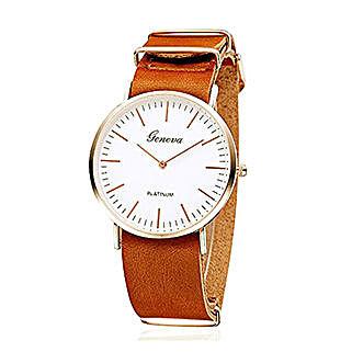 Sleek Tan Unisex Watch: Watches