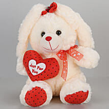 Small Bunny With Heart-Cream: Send Soft Toys