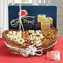 Soan Papdi N Dry Fruits Hamper: Send Bhai Dooj Gift Baskets