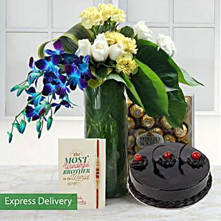Sparkle Of Rakhi Joy: Flowers & Chocolates for Rakhi