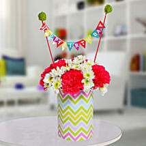 Special Birthday Vase Arrangement: Butterfly Shaped Cakes