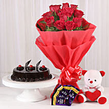 Roses with Teddy Bear, Dairy Milk & Truffle Cake: Chocolates Shopping India