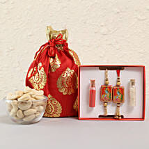 Spiritual Lumba Rakhi Set With Cashews: Rakhi Gifts to Begusarai