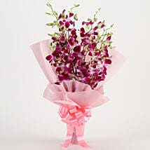Splendid Purple Orchids Bouquet: Anniversary Flowers for Her