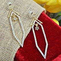 Stone Studded Triangle Earrings: Jewellery Gifts