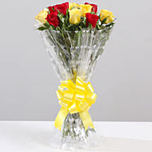 Striking Red & Yellow Rose Bouquet: Flower Delivery in Tikamgarh