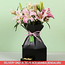 Stylish Box Of White Lilies & Chocolates: Thanks Giving Day Flowers