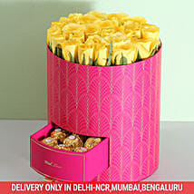 Stylish Box Of Yellow Roses & Chocolates: Thanks Giving Day Flowers
