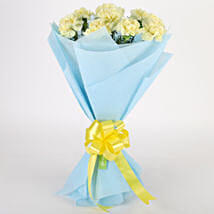 Sundripped Yellow Carnations Bouquet: Valentine Flowers Haldwani