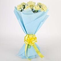 Sundripped Yellow Carnations Bouquet: Valentine Flowers Delhi