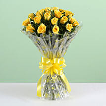 Sunny Side-18 Yellow Roses Bouquet: Diwali Flowers