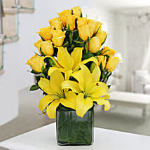 Yellow Roses & Asiatic Lilies Vase Arrangement: Karwa Chauth Gifts Mangalore