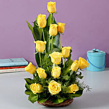 Sunshine Yellow Roses Bouquet: Girlfriend Day Flowers