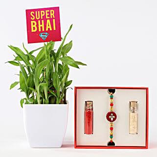 Super Bhai 2 Layer Bamboo With Beaded Rakhi: Buy Plants Hyderabad