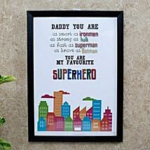 Superhero Dad Photo Frame: Fathers Day Personalised Gifts
